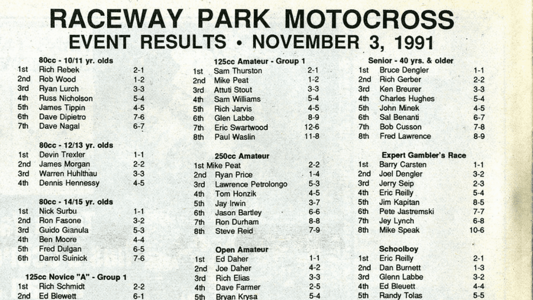 Raceway Park Results from 11/3/91