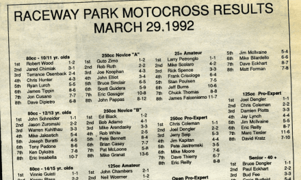 Raceway Park Results from 3/29/92
