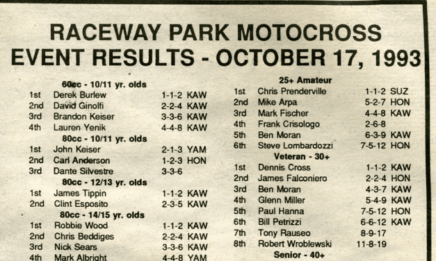 Raceway Park Results from 10/17/93
