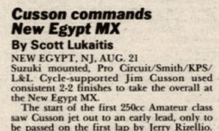 New Egypt MX Results from 8/21/88