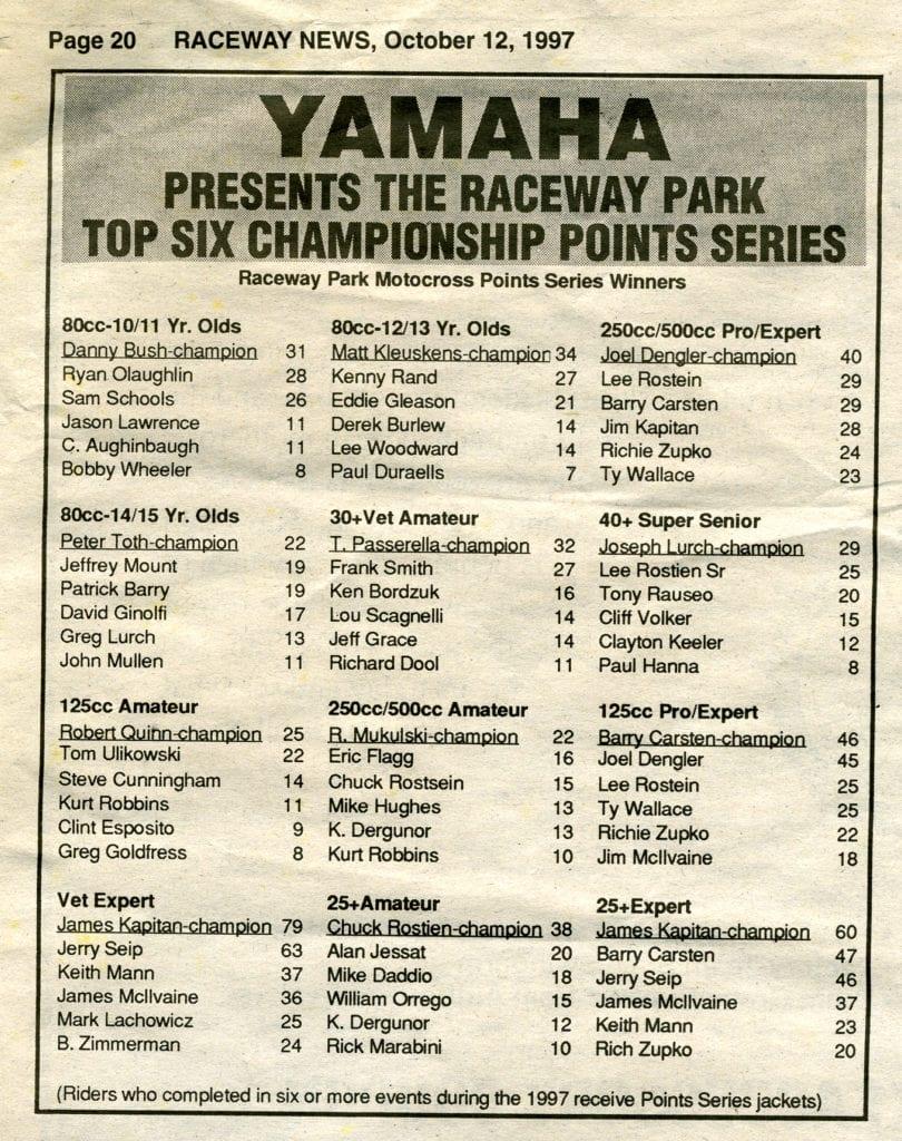 raceway park track points 1997