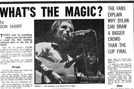 Bob Dylan, press clippings from the Isle of Wight