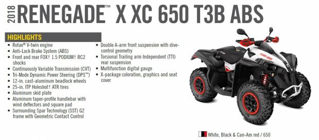 CAN-AM Renegade 650 XXC T3B ABS, 2018 god.