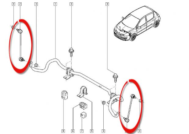 Spona / stabilizator Clio III Sport (197/200) i Megane II RS