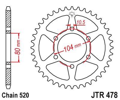 Set lanac + lančanici Kawasaki ZX-6R (ZX636) 05-06