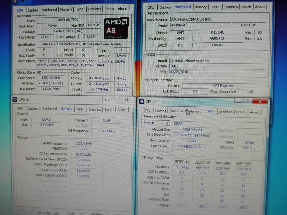 DDR3 8GB ili 16GB KIT (4x4GB) 2400MHz F3-2400C10Q-16GTX