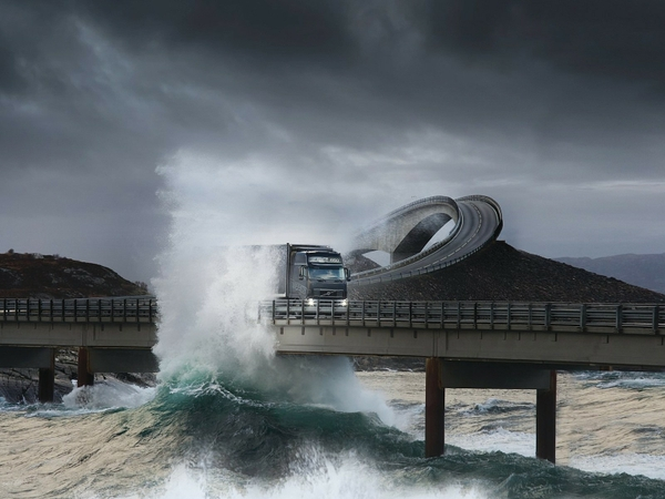 waves trucks volvo bridges norway vehicles atlanterhavsveien 1600x1200 wallpaper_wallpaperswa.com_87