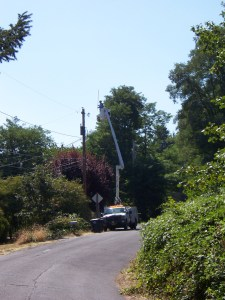 Power Company fixing issues on power pole