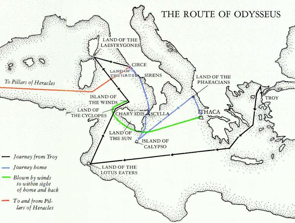 map of odysseus adventure