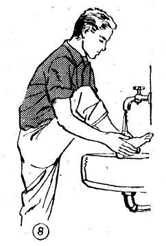 8-Topuğu biraz geçmek suretiyle ilkin sağ, sonra da sol ayak yıkanır.