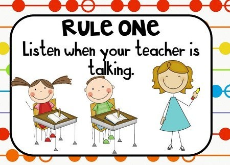 Resimli İngilizce Sınıf Kuralları (Classroom Rules)
