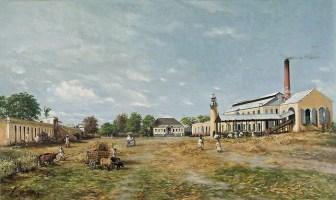 Hacienda La Fortuna. Porto Riko'da 1885'te Francisco Oller tarafından yapılmış olan ve bir şeker fabrikası kompleksini anlatan resim çalışması (Brooklyn Müzesi)