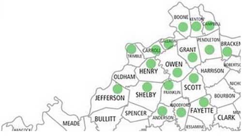 (Counties represented in the Northern Kentucky Legislative Caucus)