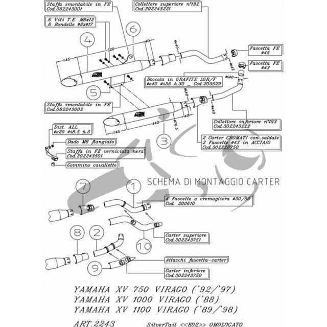 Auspuff Silvertail Yamaha XV 1100 Virago