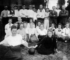 Anonymous photographer, korfbal team, the Netherlands early 20th century. (korfbal is a Dutch and Belgium ball game. The only team sports that has both male and female players.)