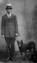 Anonymous photographer, model and dog. Germany, early 20th century.