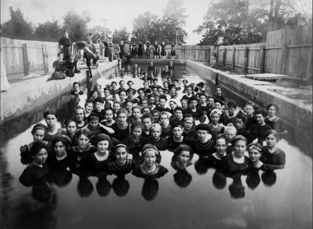 Swimming lesson in Natchitoches, Louisiana, USA, in the early 1910s.