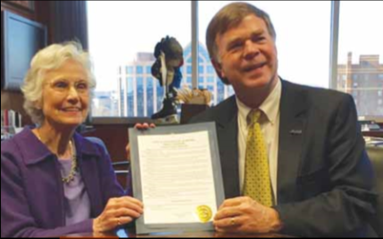 """Eugénie Rocherolle with the mayor of Huntsville, Tommy Battle, who proclaimed Feb. 26, 2016 """"Eugénie Rocherolle Day."""""""