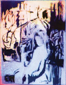"""The original work, """"In Her Room"""" (ink, monotype, photo, and digital), by Maria Keanne that she cropped to use for the cover of her new book."""