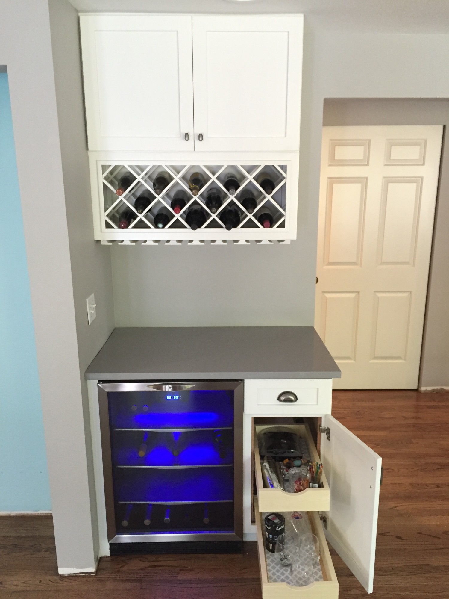 built in wine rack kitchen cabinets faucets white with gray island tacoma wa