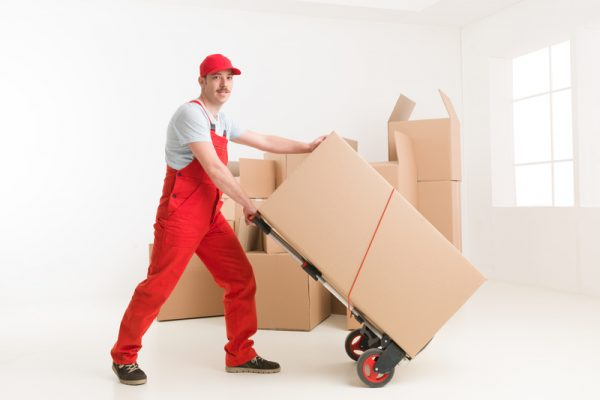 full length of young caucasian deliveryman with hand truck, transporting cardboard boxes. moving house