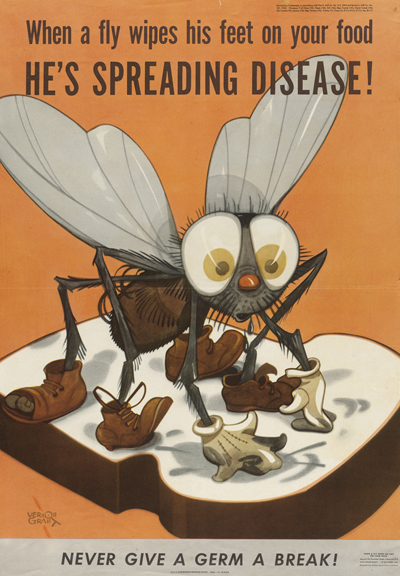When a fly wipes his feet on your food, he's spreading disease! War Department, U.S. Government Printing Office, United States, 1944. Photomechanical print: color; 36 x 51 cm. Artist: Vernon Grant (1902-1990).