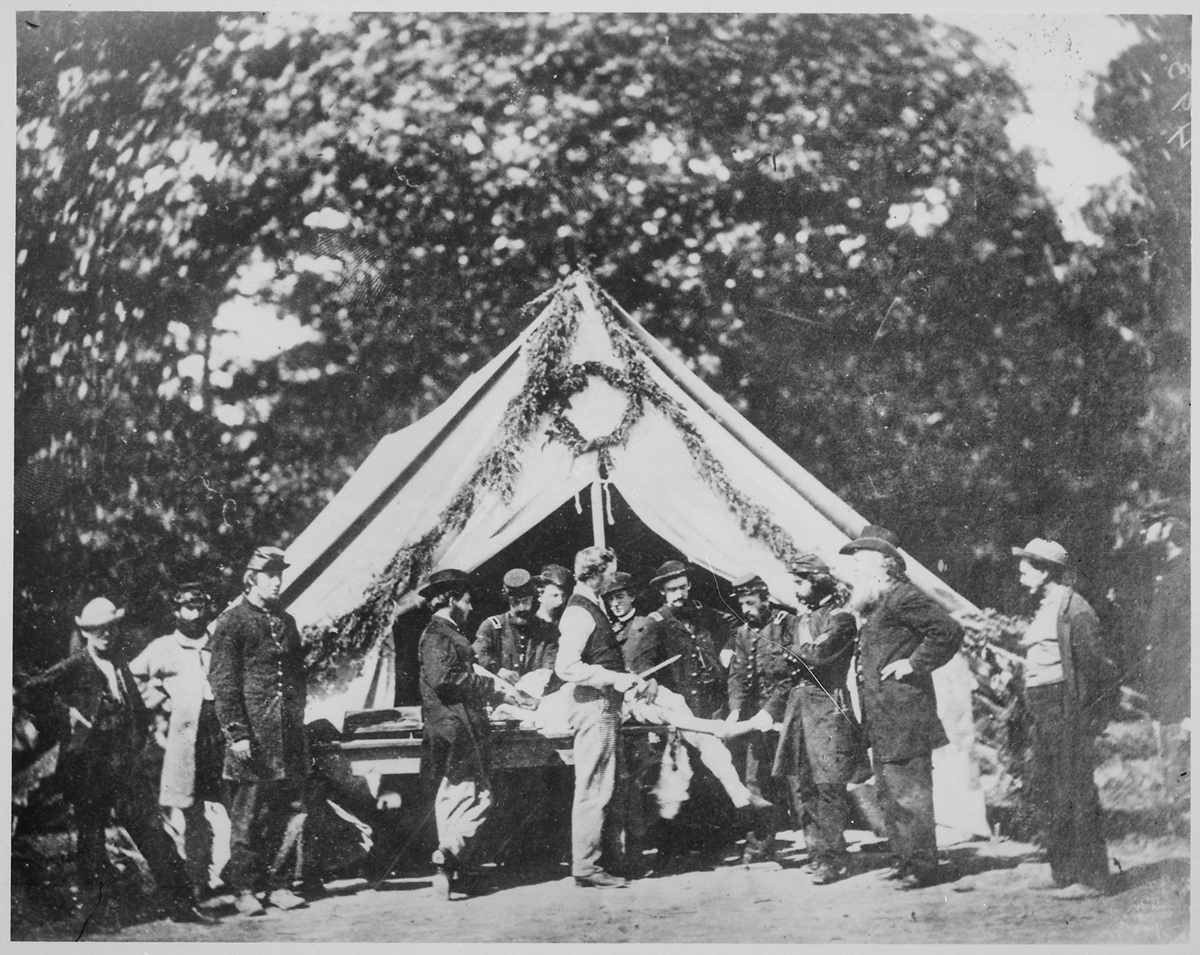 Amputation being performed in front of a hospital tent, Gettysburg, July 1863