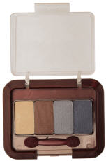 Photograph of an eye shadow case with four shadow colors and a brush