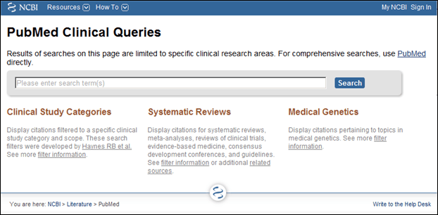 Screen capture of PubMed Clinical Queries homepage.