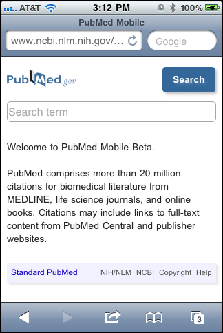 Screen capture of PubMed Mobile homepage.