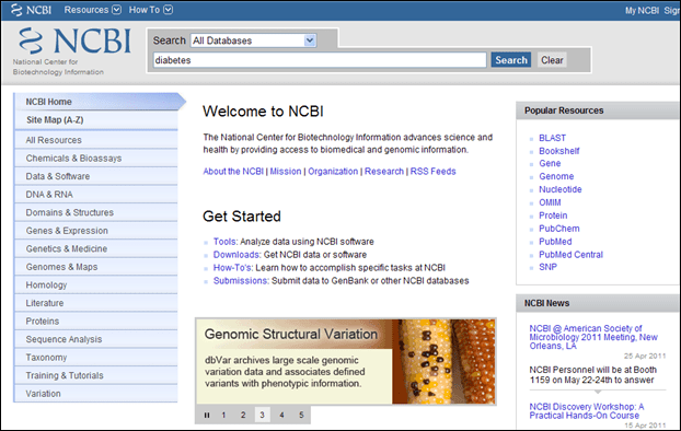 Screen capture of NCBI homepage and All Databases option in the search box