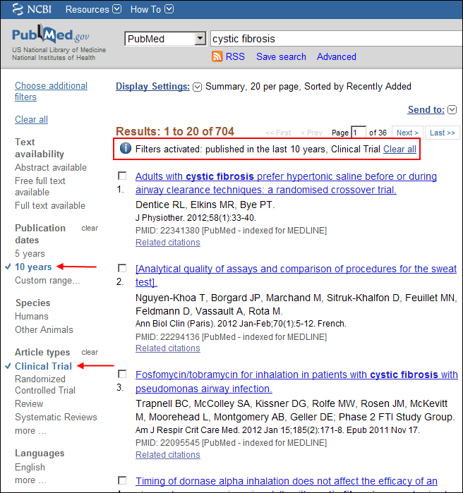 Screen capture of PubMed cystic fibrosis results filtered by the last 10 years publication date and Clinical Trial