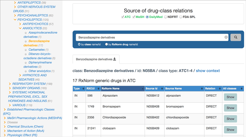 RxClass results display: Shows RxNorm and drug class source data for your results.