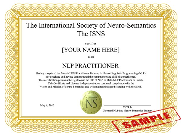 NLP Certificate NLP Practitioner Training for Success in Neuro-Semantics Malaysia