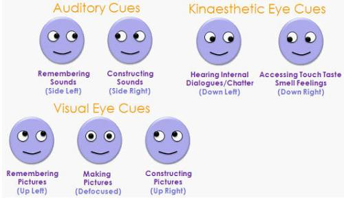 Graphic illustrating different eye positions | NLP World.