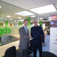 Terry standing with Olly Stebbings, Global Sales Director GDS