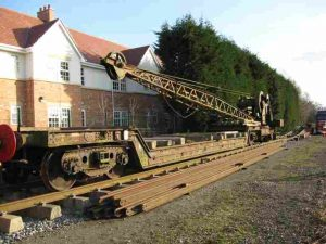 Steam Crane 12394 being coupled to B900914 at Boughton, just after unloading at the NLR Photo: G. R. Titmuss