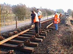 Track laying north of Bridge 13