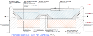 A cross section through Bridge 11 where exisiting drainage is located.