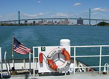 T/S State of Michigan with Detroit's Ambassador Bridge in the background