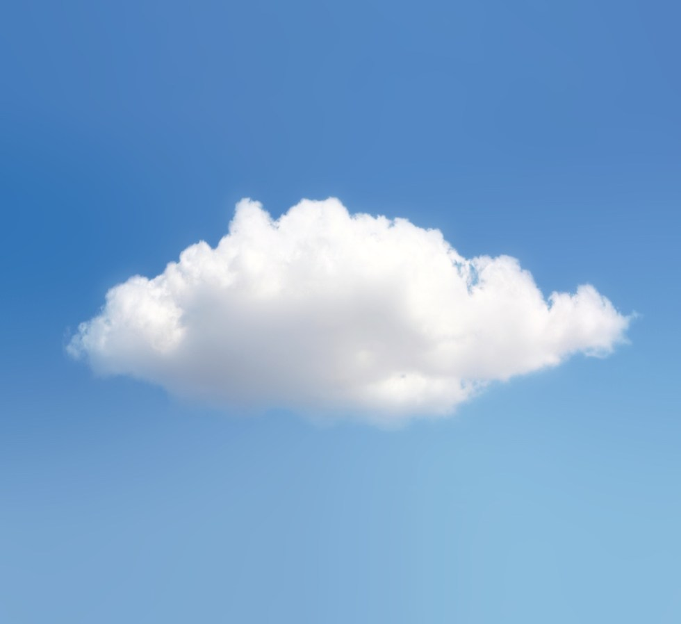 Single isolated cloud in blue sky.
