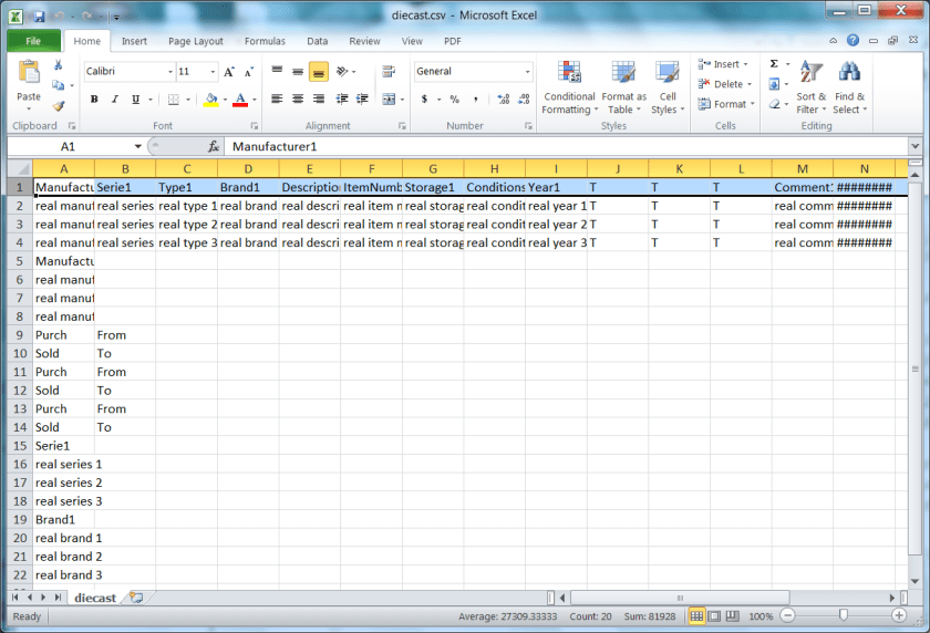My Collection Explorer Real Data Export