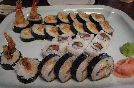 Four different maki rolls are represented here.