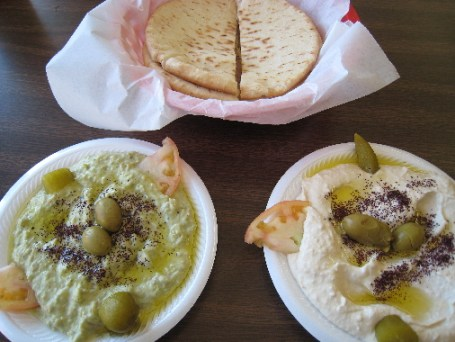 Baba Ganoug and Humus with pita bread