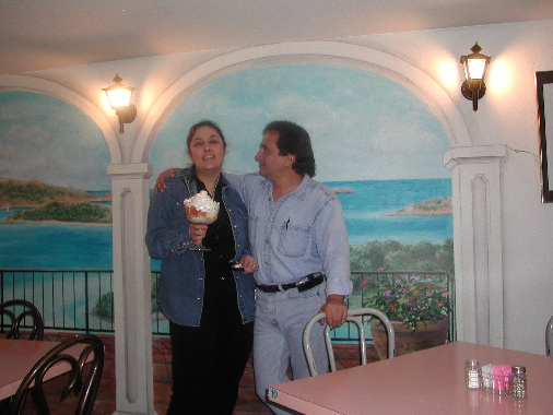 Monica and Leo, the heart and soul of El Norteno. The tres leches cake in Monica's hands is destined for our table.