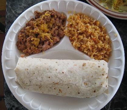 A burrito stuffed with chicken.