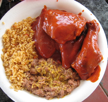 Chicken in red chile.