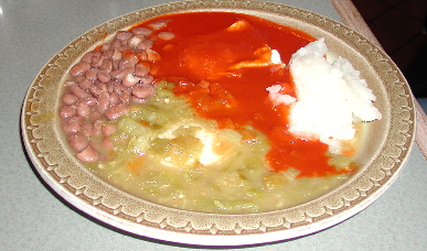 The huevos rancheros served Christmas style with red and green chile.