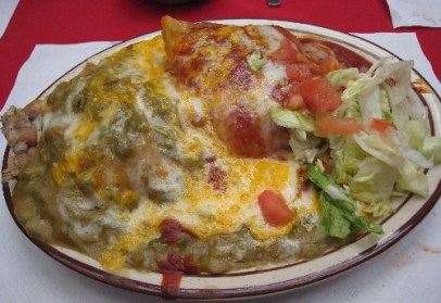 La Placita Original Old Town Special - two stuffed sopaipillas.