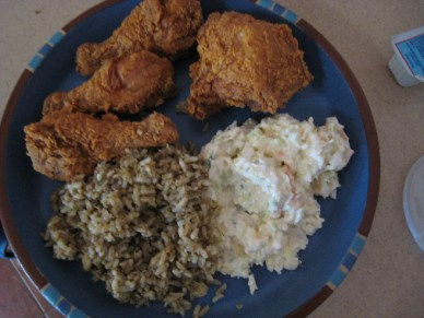 Fried chicken, dirty rice and coleslaw